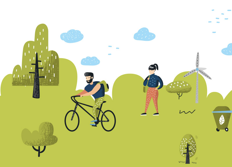 Smart Living illustration of man and woman cycling in a green field park